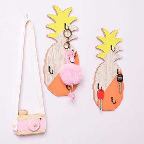 FEUBJE 3Pcscreative Ananas-handgemachte hölzerne Schlüsselhaken-Ausgangswand-Dekoration, die Kleiderbügel-Speicher-Regal hängt