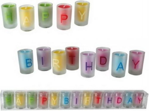 Out of the blue 181027 Kerze im Glas, Happy Birthday, 13-er Set in PVC-Box, circa 3 x 5 cm, mehrfarbig