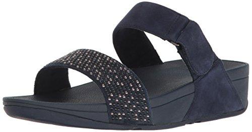 FitFlop Damen Lulu Popstud Slide Sandal Peeptoe, Blank Blue (Midnight Navy)