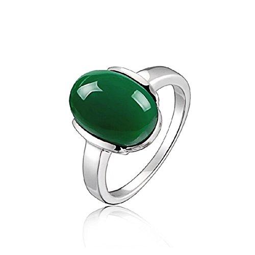 925 Silber Ring / Thai Silber / Intarsien Edelsteine / Ring / Zeigefinger Ring - Grün 8 ½