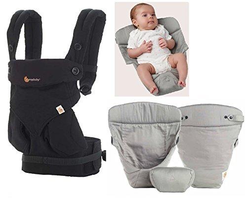 Ergobaby Babytrage 360Pure schwarz (New 2016Farbe) inkl. grau Einsatz für Neugeborene (Wrap Ergobaby Carrier Baby)