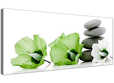 Large Canvas Pictures of Lime Green Flowers and Grey Pebbles - Cheap Floral Wall Art - 1070 - Wallfillers®