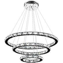 LED Design Decken Hänge Kron Leuchter Lampe Kristall Behang weiß Pendel Leuchte