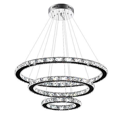 96W LED Kristall Design Hängelampe Deckenlampe Deckenleuchte Pendelleuchte Kreative Kronleuchter Drei Ringe Kaltes Lüster (96W Kaltes Weiß) (Kristall-pendelleuchte)