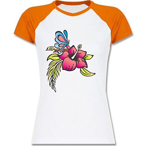 Blumen & Pflanzen - Blumen - zweifarbiges Baseballshirt / Raglan T-Shirt für Damen Weiß/Orange
