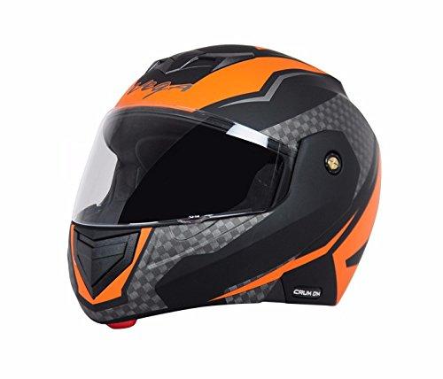 Vega Crux Flip up Men's Helmet with Tinted Smoke Visor, Black and Orange (Large, 57 - 59.5 cms)