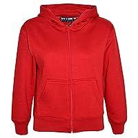 A2Z 4 Kids® Kids Girls & Boys Unisex Plain Fleece Hoodie Zip Up - Zipper Red 3-4