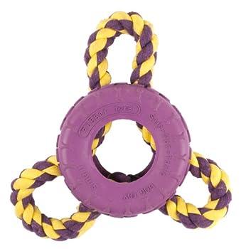 InterRope Minipneu en caoutchouc avec 3 cordes Violet/jaune Taille S