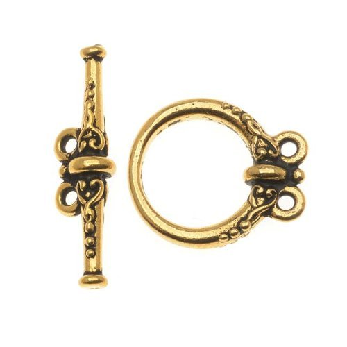 22K Gold Plated Pewter Heirloom 2 Loop Toggle Clasp 15mm (1) by TierraCast