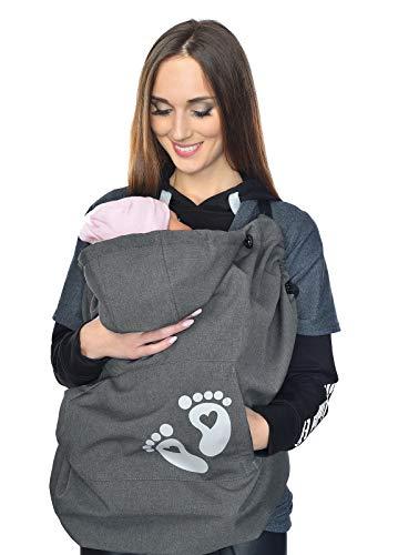 MijaCulture Softshell Tragecover, Universal Bezug für Baby Carrier Tragetücher Cape 4113 (Graphite/Baby 2)