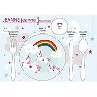 Conjunto de mesa educativo, mesa infantil, tema de unicornio, tonos rosas y grises