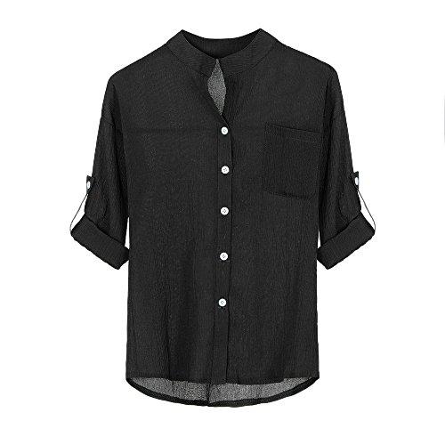 Bluse Damen Pullover Herbst Shirts Hemd Frauen Stehen Kragen Shirt Solide Lange Ärmel lässige Bluse Knopf Down Tops Langärmeliges Bluseshirt,ABsoar