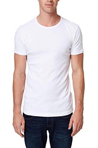 ESPRIT Herren 998EE2K816 T-Shirt, Weiß (White 100), Medium -