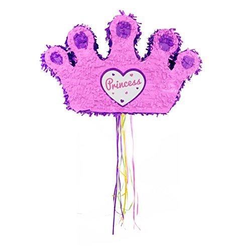 (Prinzessin Pinata von Trendario - 49x30x15 cm groß in Rosa / Pink - ungefüllt - Ideal zum Befüllen mit Süßigkeiten und Geschenken - Piñata Krone für Kindergeburtstag Spiel, Geschenkidee, Party, Hochzeit)