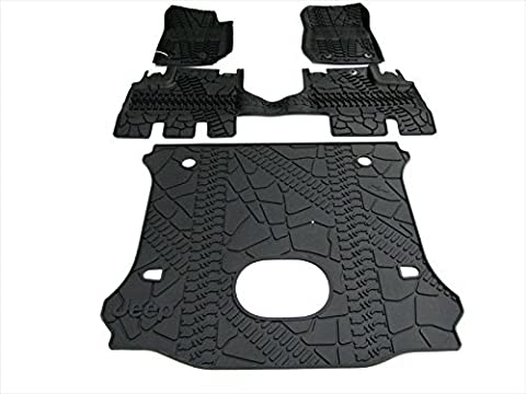 2015 Jeep Wrangler Unlimited Slush Mats & Cargo Area Mat WITH Floor Mounted Subwoofer Cutout OEM MOPAR GENUINE SET NEW by Mopar