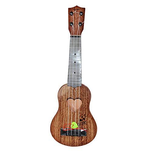 Ogquaton Guitarra Educativa Instrumentos musicales Juguete, simulación jugable Ukulele para niños, 4 cuerdas Marrón Durable y práctico