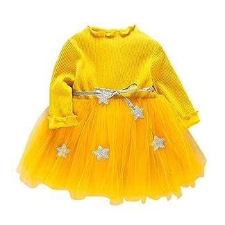 K-youth Vestidos Bebe Niña, Recién Bebé Niñas Tutú Princesa Vestido Pentagram Bautizo Bebé Niñas Vestidos de Manga Larga Otoño Invierno Ropa para 0-24 Meses