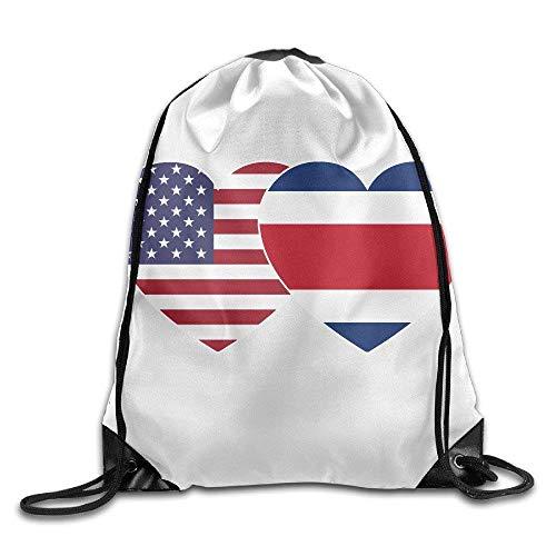 uykjuykj Tunnelzug Rucksäcke, Costa RICA USA Twin Flag Gym Drawstring Backpack Unisex Portable Sack Bag Lightweight Unique 17x14 IN -