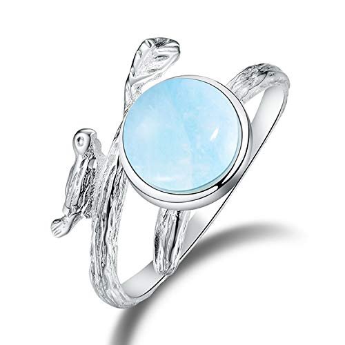 Lotus Fun S925 Sterling Silber Ring Vintage Ringe für Frauen und Mädchen, Natürlicher Beryl Stein Handgemachter Einzigartiger Schmuck (Blue) (Ringe Schmuck Handgemachter)
