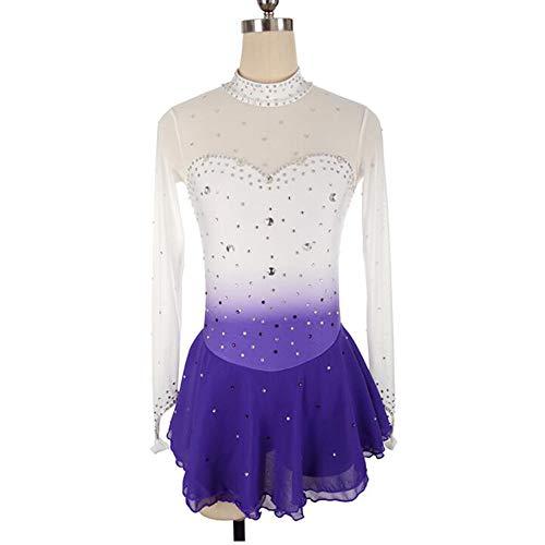 XIAOY Handge Fertigt Eiskunstlauf Kleid für Mädchen und Frauen Langärmelige Handarbeit Samt Eislaufen Wettbewerb Kostüm,White+Purple,Customized