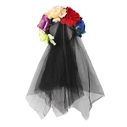 RUIXIB Damen Tag der Toten Haarschmuck mit Rosen und Schleier Kopfschmuck Halloween Kostüm Accessoire Hochzeit Blumen Kranz Schwarz Brautschleier für Hochzeiten Festival - Mit Dem Guten Gefühl Tanz Kostüm