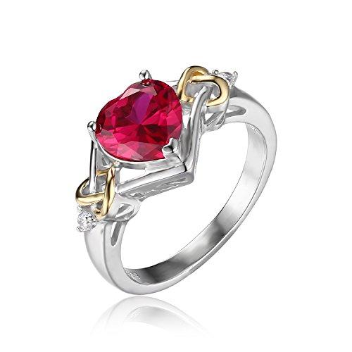 JewelryPalace Donna Gioiello 2.58ct Rosso Scuro Rubino Anello di Fidanzamento Forma di cuore Amore Nod Argento Sterling Placcato Oro 18k