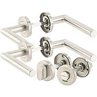 AGT Tür-Küchengriffe: 2er-Set Edelstahl-Türbeschläge, 4 Türklinken, 4 Rosetten, für Bad & WC (Türdrücker)