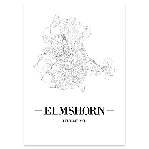 Braunschweig Weiß Kunstdruck Plan Map JUNIWORDS Stadtposter