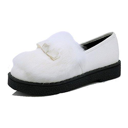 Tallone Voguezone009 Bianco Basso Tira Donna Camoscio Scarpe Rotondo Colore Leggere Solido 7qUrng7w8