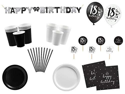 PS Partyset Partygeschirr 18.Geburtstag schwarz weiß Mädchen Junge 91 teilig 16 Personen Party Komplett Set Party Deko Raum Deko