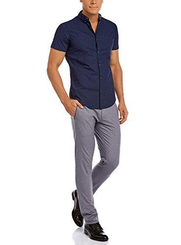 oodji Ultra Herren Tailliertes Hemd aus Baumwolle Blau (7875F)