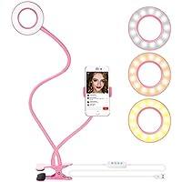 Neewer Abrazadera Selfie Anillo de Luz con Soporte para Movil para Live Stream, Regulable (Modo 3-Luz, Brillo de 8 Niveles) con Soporte para YouTube, Facebook, iPhone 8/7/6S, Samsung, HTC (Rosa)