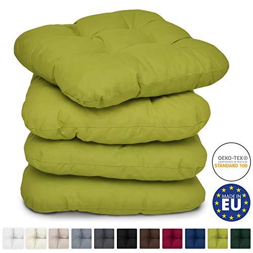 Beautissu 4er Set Stuhlkissen 40x40 cm Lisa - Bequemes 8cm Kissen für Stuhl & Bank - Gepolstertes Sitzkissen Stuhl für Ihre Esszimmer Stühle und Bänke - Sitzpolster in Hell-Grün