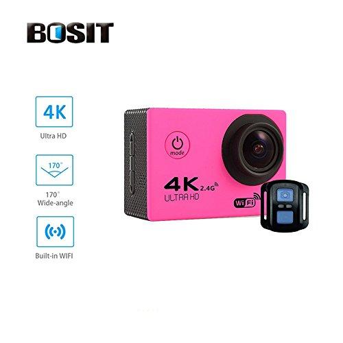 Bosit azione Camara, cinturino 2.4G Wireless RF telecomando, 4K HD Sports Action Camera, 12MP WiFi impermeabile camera 170gradi di angolo di vista largo 5,1cm schermo LCD/19Accessori kits- giallo, Blue