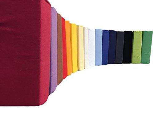 Leonado Vicenti klassisches Jersey Spannbetttuch aus 100% Baumwolle Jersey erhältlich in 15 Farben und verschiedenen Größen, Maße:180-200 x 220 cm Wasserbett & Boxspringbett, Farbe Spannbettlaken Jersey:Natur