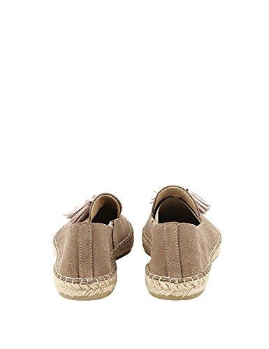 Espadrij L'originale Women's Loafer Pom Pom Leather Espadrilles Leather Beige