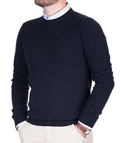 Maglione uomo puro cashmere 100% lana pullover a manica lunga con girocollo soffice e morbido (52 xl, blu)