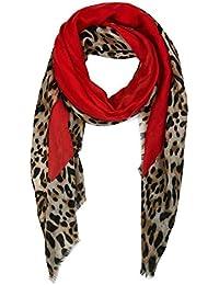 a205f72857a872 fashion&DU Damen Schal tuch mit Animal Prints Leo Schultertuch rot gelb  rosa M7