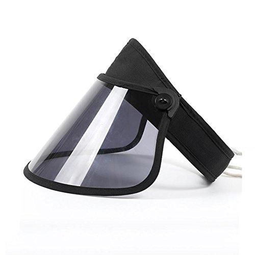 Zxwzzz Hüte Huts Großer hohler hohler Zylinder, Sommer im Freien Reiten Klettern Faltbarer Sonnenschutz UV-Schutzscheibe mit Kinn mit Sonnenhut (Color : Black)