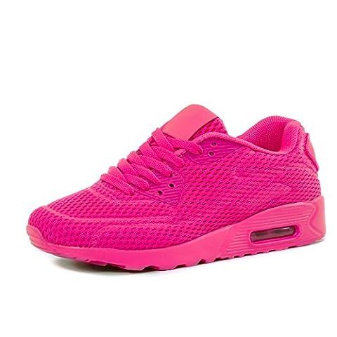Damen Laufschuhe Schnür Sneaker Sport Fitness Turnschuhe Pink 39