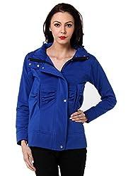 TeeMoods Womens Fleece Cotton Blend Full Sleeves Blue Sweatshirt Hoodie Jacket With Zip For Ladies (XLarge)