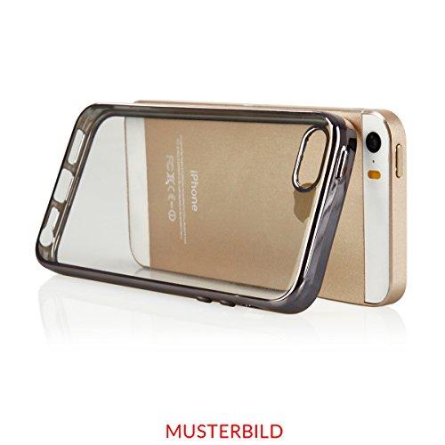"""Silikon TPU Chrom Case Schutz Hülle für iPhone 6 /6s Plus 5.5"""" Kupfer Metallic Handy Tasche transparentes Back Case mit buntem Rand Schutzhülle Crystal Gehäuserückseite Sparkles Bumper Pink + Glas"""