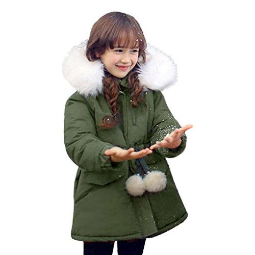 Longra Winterparka Kinder Mädchen Winterjacke mit Fellkapuze Jacken Kinder Kapuzenjacke Mädchen Lang Wintermantel Parka Übergangs Stepp Jacke Outdoorjacke (3-10Jahre) (140CM 7Jahre, Army Green) (Kleine Jungen Wintermäntel Größe 7)