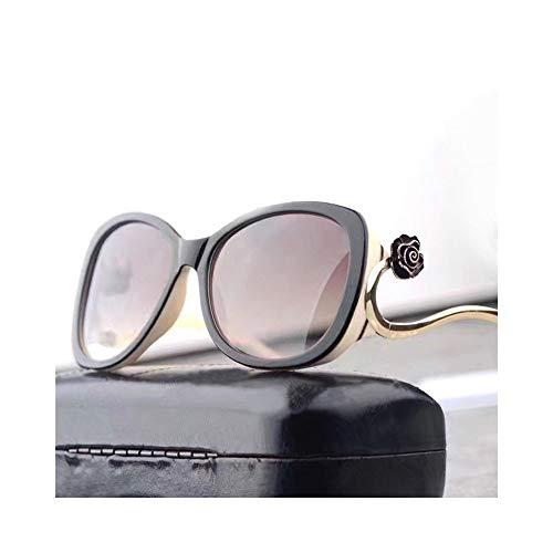 Easy Go Shopping Damenmode Sonnenbrillen, High-End, polarisierte Linse, Metallrahmen Sonnenbrillen Sonnenbrillen und Flacher Spiegel (Farbe : White/Brown)