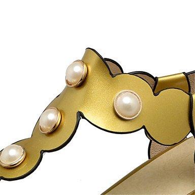 LittleDevil Damen-Sandalen-Hochzeit Outddor Kleid Lässig-maßgeschneiderte Werkstoffe Kunstleder-Blockabsatz Block Ferse-Komfort Neuheit Gold