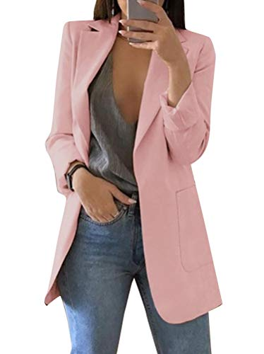 Minetom Donna Maniche Lunghe Aperto Davanti Colletto Cappotto Elegante Ufficio Business Blazer Top Gilet OL Giacca Cardigan A Rosa IT 40