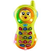 JOJOmay Juguete de Confort Exquisito del bebé Niños Aprendizaje temprano Juguete Música Cambio de Cara Juguete Forma de teléfono Juguete (Color Aleatorio)