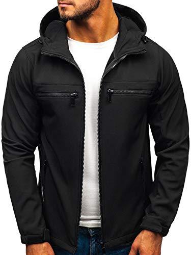 BOLF Herren Softshell Funktionsjacke Kapuze Fleecefutter Outdoor Sportlicher Stil J.Style 56003 Schwarz M [4D4] (Für Männer In Khaki Jacke)