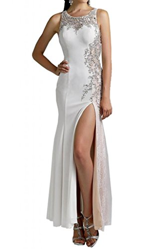 Toscane mariée bezaubernd mermaid fente chiffon abendkleider de long avec pointe party ballkleider ferme Blanc - blanc