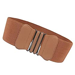 Imported Fashion Womens Ladies Faux Leather Wide Elastic Buckle waist belt Hot Brown